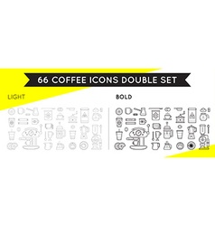 Set of thin and bold coffee elements vector