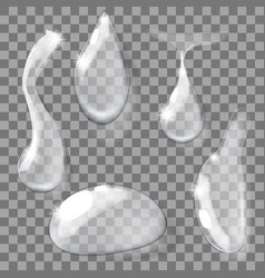 set of transparent realistic pure clear water vector image vector image