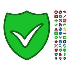 Shield ok symbol with toolbar icon set vector