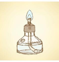Sketch alcohol burner in vintage style vector