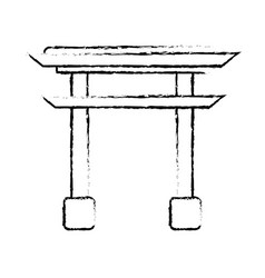 Sketching gate monument japanese vector