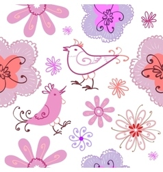 Spring seamless pattern with doodles vector image