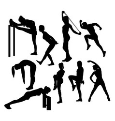 Stretching sport silhouettes vector