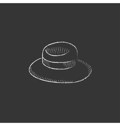 Summer hat Drawn in chalk icon vector image vector image