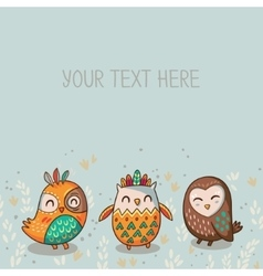 Tribal owl card vector image