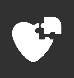 White icon on black background puzzle heart vector