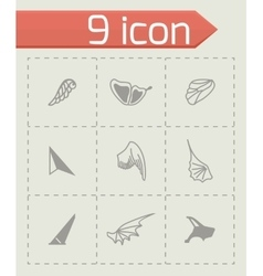 Wing icon set vector image vector image