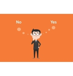 yes or no concept with businessman standing vector image vector image