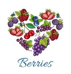 Heart shape of sketched berries vector image