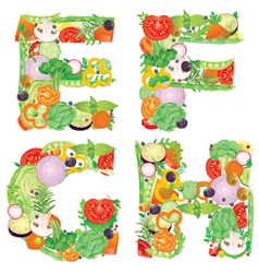 Alphabet of vegetables efgh vector