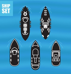 Civil and military ships collection vector image