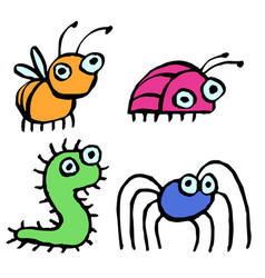 funny cartoon insects crawling somewhere vector image