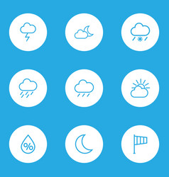 meteorology outlines set collection of snowy vector image