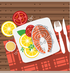 Top view salmon steak on table vector