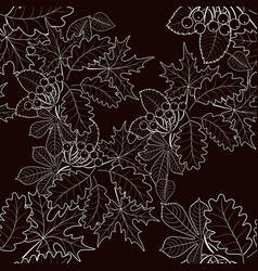 Seamless pattern of leaves on a brown background vector
