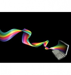 Rainbow laptop background vector