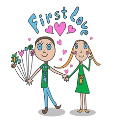 The in childrens style First love vector image