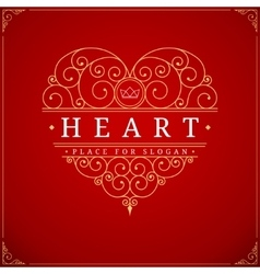 Heart vintage luxury logo template vector