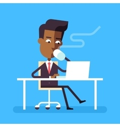 Man sitting at desk with laptop and hot beverage vector
