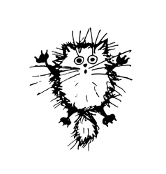 Funny fluffy cat sketch for your design vector