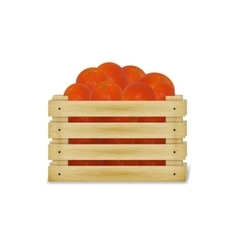 A wooden box with tomatoes vector