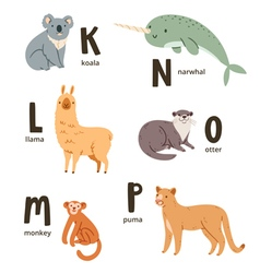 Animal alphabet letters k to p vector