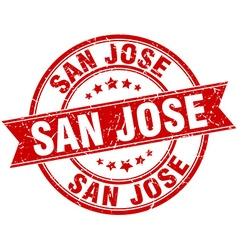 San jose red round grunge vintage ribbon stamp vector