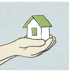 Green house in hands concept vector