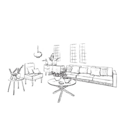 Hand drawn sketch of room interior vector