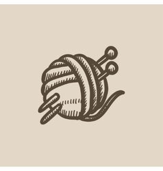 Threads for knitting with spokes sketch icon vector