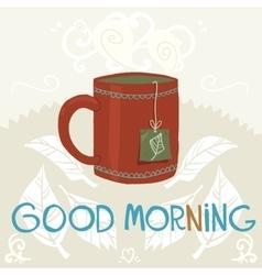 Cartoon cup of tea flat icon vector