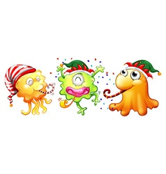 Christmas theme with three monsters having party vector