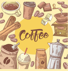 coffee hand drawn doodle with coffee cup vector image