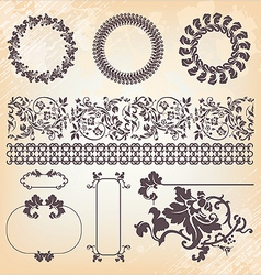 collection of vintage floral pattern design vector image vector image