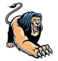 crawling lion mascot vector image vector image