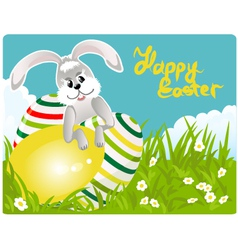Easter bunny with colorful eggs vector image
