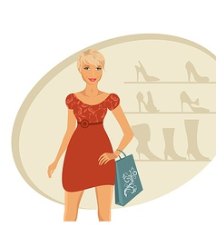 fashion girl shopping in shoe shop - vector image