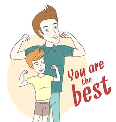 Father and son showing biceps Hand drawn style vector image vector image