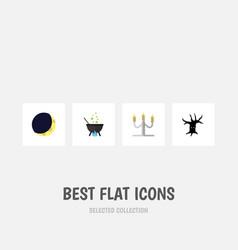 flat icon halloween set of candlestick magic vector image vector image