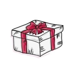 gift box with pink ribbon vector image