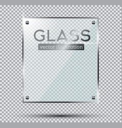 Glass plate with steel rivets isolated on vector