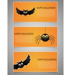 Halloween banner set with flying bat and spider vector