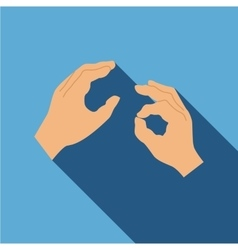 Hand sign language icon flat style vector