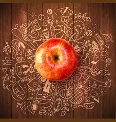 Healthy lifestyle concept with apple and doodles vector