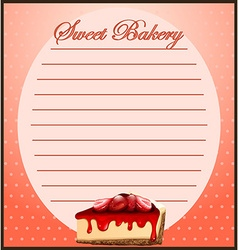 Line paper with strawberry cheesecake vector