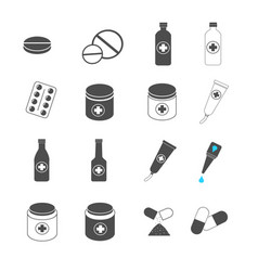 medication pill and capsule icons set vector image vector image