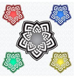 Pentagonal logo template in celtic knots style vector