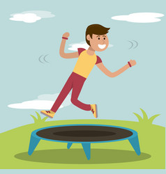 physical education - boy training jumping vector image vector image