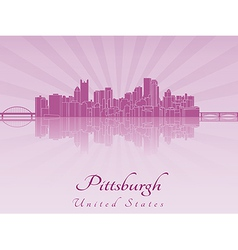 Pittsburgh skyline in purple radiant orchid vector