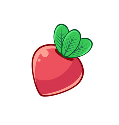Red beetroot with leaves food item outlined vector